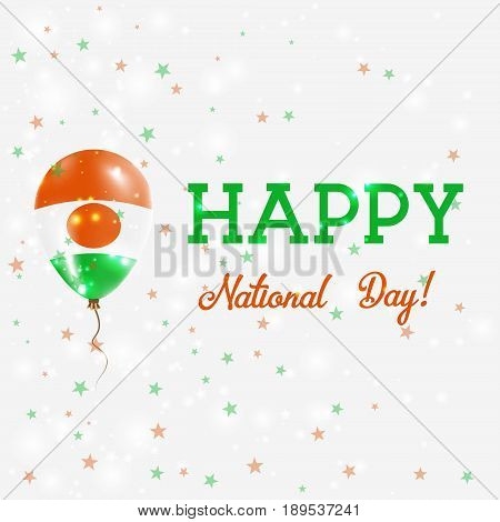 Niger National Day Patriotic Poster. Flying Rubber Balloon In Colors Of The Nigerian Flag. Niger Nat