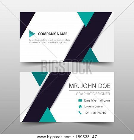 Green triange corporate business card name card template horizontal simple clean layout design template Business banner template for website