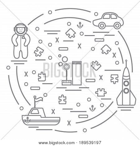Vector Illustration Kids Toys Objects: Astronaut, Rocket, Ship, Car, Puzzles And Other.