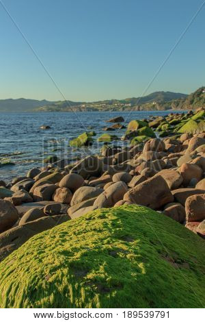 The wonderful views from the beach of Arribolas