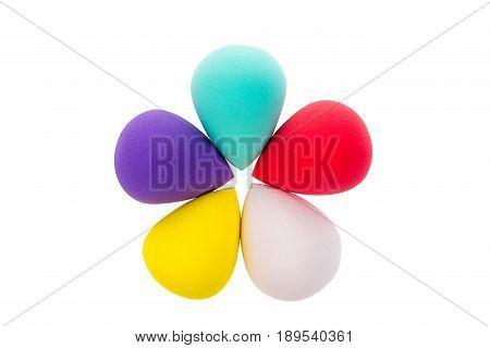 Colorful Make Up Sponge Isolated On White.