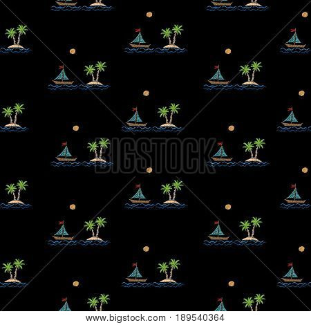 Seamless pattern with embroidery stitches imitation little palm tree with boat wave and sun. Exotic palm tree embroidery pattern vector background for printing on fabric paper for scrapbook gift wrap.
