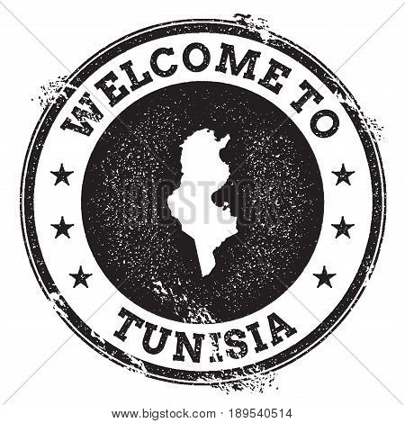 Vintage Passport Welcome Stamp With Tunisia Map. Grunge Rubber Stamp With Welcome To Tunisia Text, V