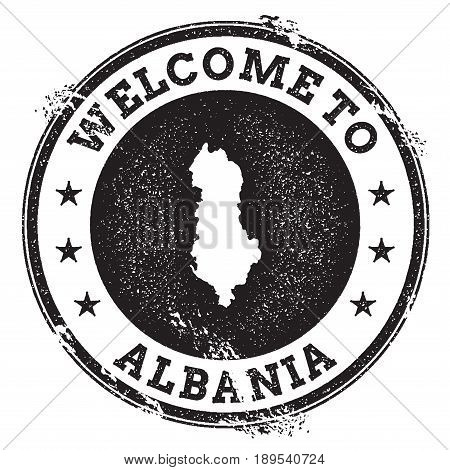 Vintage Passport Welcome Stamp With Albania Map. Grunge Rubber Stamp With Welcome To Albania Text, V