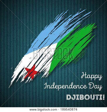 Djibouti Independence Day Patriotic Design. Expressive Brush Stroke In National Flag Colors On Dark
