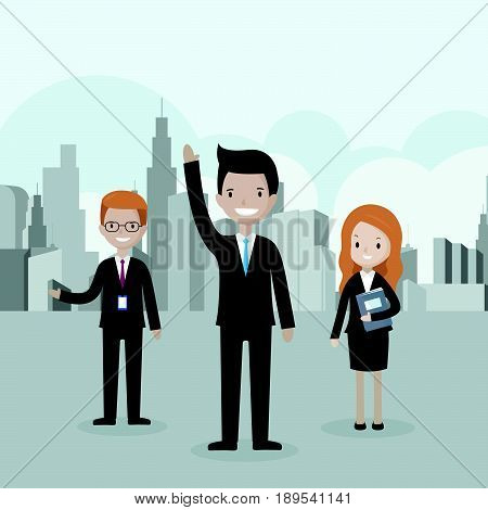 Cartoon businessman standing in front of the group raising his hand up - recruitment leader and volunteer concepts