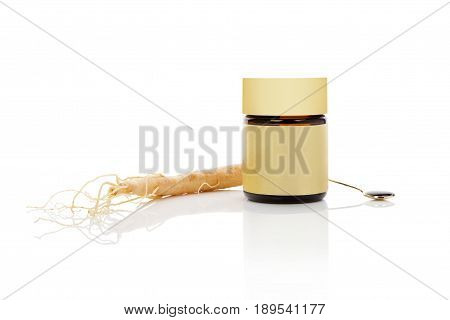 Korean ginseng isolated. Ginseng root and extract in glass bottle isolated on white background.
