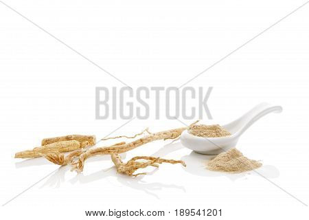 Korean ginseng ground powder and dry root isolated on white background.