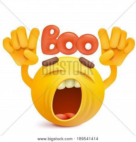 Round smiley face emoji making boo gesture. Vector illustration