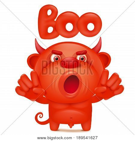 Funny cartoon red little devil emoji character with boo title. Vector illustration