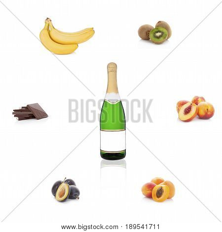Champagne sparkling wine with empty label with different fruits and chocolate isolated on white background. Aroma of wine. Wine bouguet.