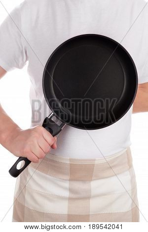 Chef holding frying pan isolated on white background. Cooking concept.
