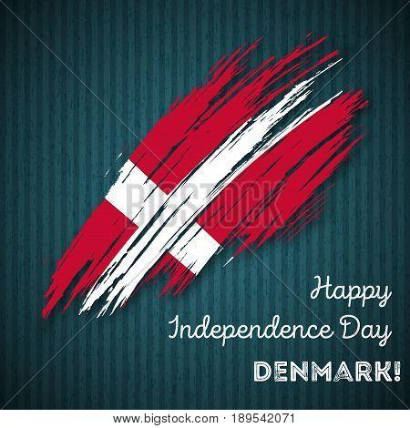 Denmark Independence Day Patriotic Design. Expressive Brush Stroke In National Flag Colors On Dark S