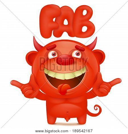 Funny cartoon red little devil emoji character with fab title. Vector illustration