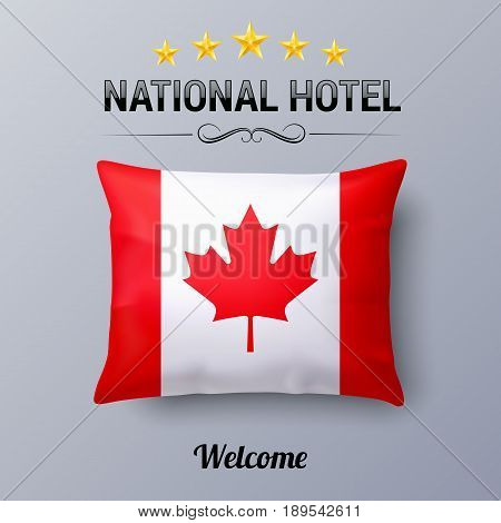 Realistic Pillow and Flag of Canada as Symbol National Hotel. Flag Pillow Cover with Canadian flag