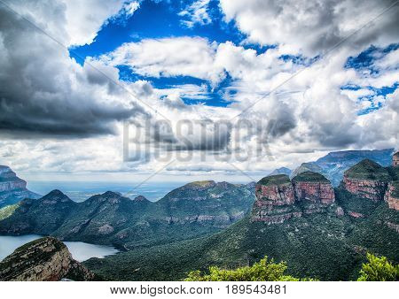 Landscape At The Blyde River Canyon, Viewpoint Three Rondavels, South Africa