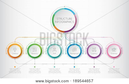 Infographics template with a six structure elements of business organization. Retro-futuristic circle template with options. Vector illustration