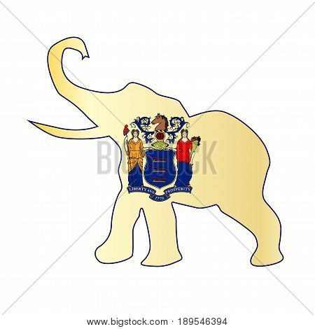 The New Jersey Republican elephant flag over a white background