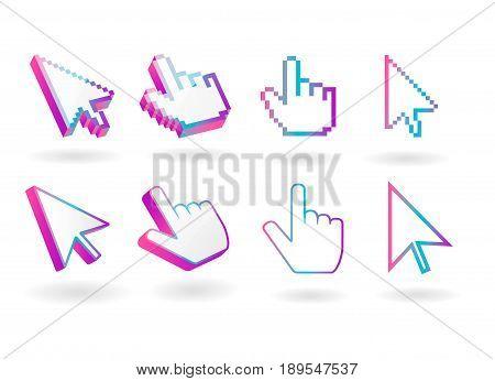 Colored  cursor mouse  pointer  vector icon  3d  symbols set