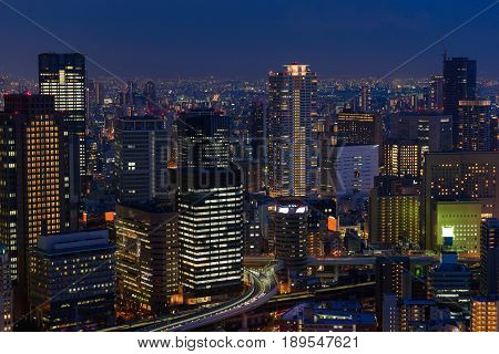 Osaka city skyline at the landmark Umeda District Japan.