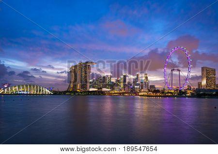 Singapore city skyline at night, Singapore City