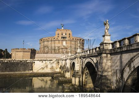 Scenery of the fortress of Castel Sant'Angelo and the bridge over the River Tiber.