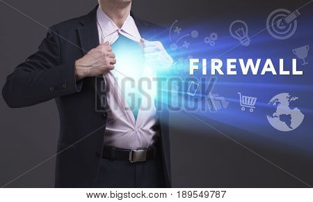 Business, Technology, Internet And Network Concept. Young Businessman Shows The Word: Firewall