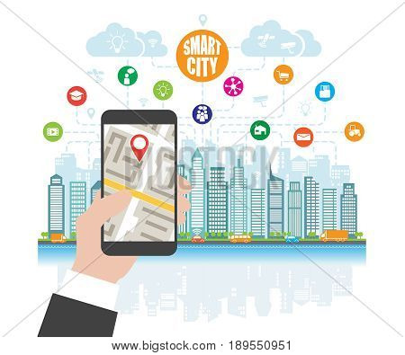 Life in a smart city, smart phone with navigation in the hand, define location. Background place for text