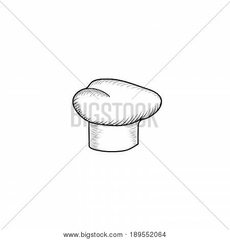 Cook hat engraving sign. Drawn hat chef cook. Hat chef-cooker. Vector black hat chef cook on a white background