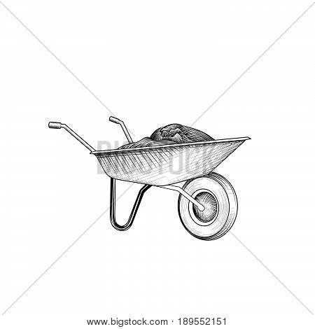 Garden cart with humus isolated rettro etching. Wheelbarrow engraving. Gardening sign