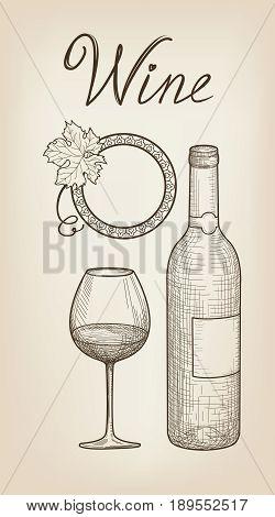 Wine set. Wine glass bottle lettering. Cafe menu. Wine card sketch