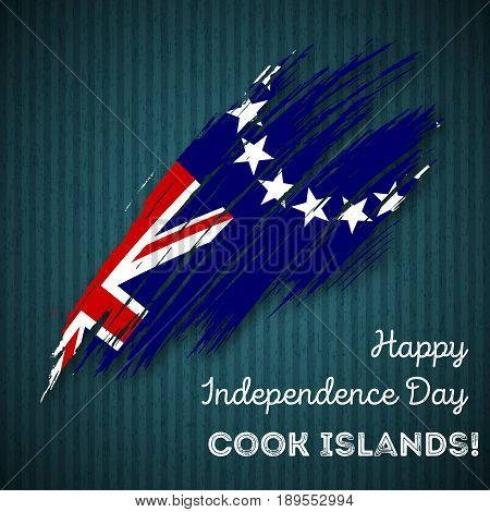 Cook Islands Independence Day Patriotic Design. Expressive Brush Stroke In National Flag Colors On D