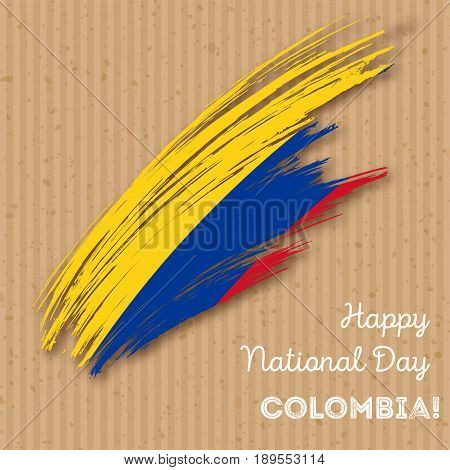 Colombia Independence Day Patriotic Design. Expressive Brush Stroke In National Flag Colors On Kraft