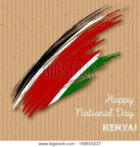 Kenya Independence Day Patriotic Design. Expressive Brush Stroke In National Flag Colors On Kraft Pa