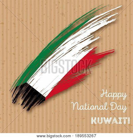 Kuwait Independence Day Patriotic Design. Expressive Brush Stroke In National Flag Colors On Kraft P
