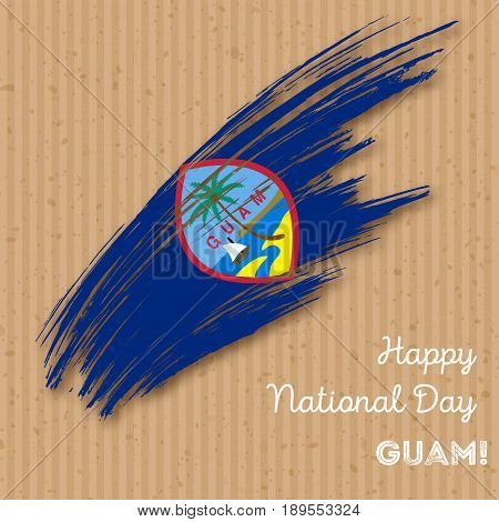 Guam Independence Day Patriotic Design. Expressive Brush Stroke In National Flag Colors On Kraft Pap