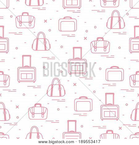 Cute seamless pattern with different bag and suitcases for travel. Summer time vacation. Design for banner poster or print.