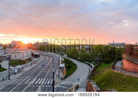 Sunrise over the Warsaw in Poland Europe