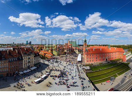 Castle square and old town of Warsaw in a summer day Poland Europe