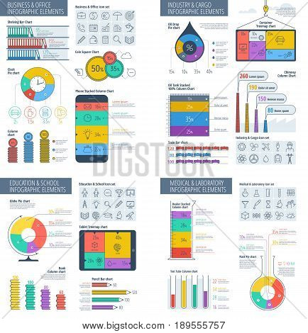 Business, education, industry and science infographic set. Office, school, medical and laboratory infographics template. Flat line vector design elements for web, presentations, social media.