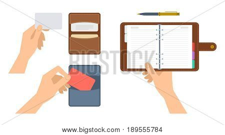 Hands are holding paper organiser and cardholder with cdedit cards. Flat illustration of schedule planner and cardboard with leather covers. Vector concept elements isolated on white background.