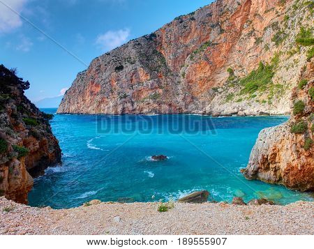 Beautiful view on Zakynthos Elation Sparto beach, stone rocks, blue water of Ionian Sea, reefs, Blue Caves. Love beach. Greece islands holidays vacations famous places tours. love wild beach