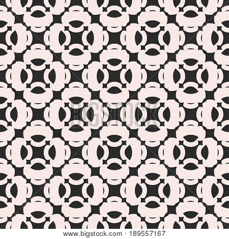 Abstract monochrome seamless pattern in oriental style. Vector geometric texture, floral shapes ornamental tiles vector background. Retro style background. Design element for prints, decoration, fabric pattern, cloth pattern, table cloth