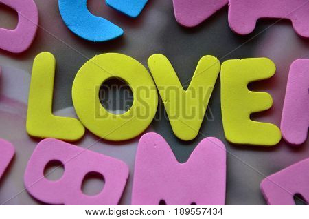 word love on a  abstract colorful mbackground