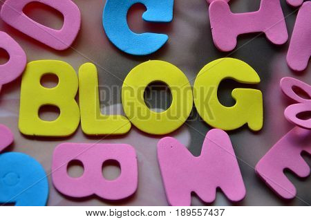 word blog on a  abstract colorful background