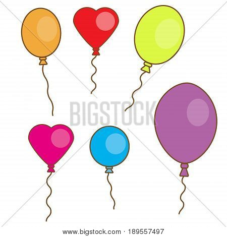 Simple hand drawn balloons isolated on white. Round oval and heart shape balloons. Design elements celebration stickers