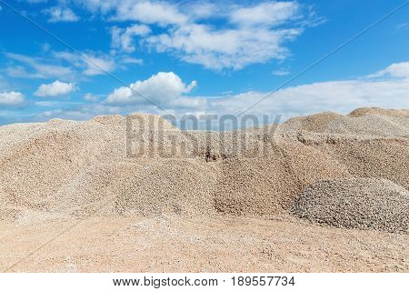 Pile of crushed stone in a quarry