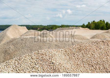 Pile of macadam stone in a quarry