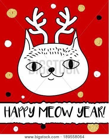 Doodle cat in Christmas deer horns headband. Modern postcard flyer design template. Seasonal winter new year greeting card