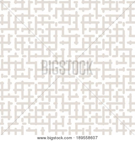 Vector seamless pattern, maze geometric texture in pastel colors beige & white. Simple abstract repeat background. Monochrome light design for prints abstract background, textile, home decor, furniture, package background, web pattern, factory